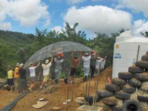 Building an earthhip in Nicaragua.
